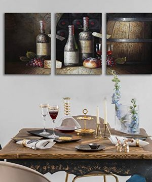 Sweety Decor Canvas Wall Art Kitchen Vintage Country Style Grape Red Wine And Wooden Barrel Picture Canvas Kitchen Food Drink Artwork For Dining Room Home Decoration Black M 0 0 300x360