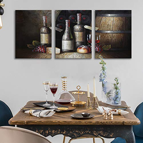 Sweety Decor Canvas Wall Art Kitchen Vintage Country Style Grape Red Wine And Wooden Barrel Picture Canvas Kitchen Food Drink Artwork For Dining Room Home Decoration Black M 0 0