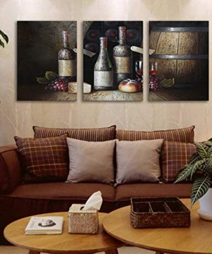 Sweety Decor Canvas Wall Art Kitchen Vintage Country Style Grape Red Wine And Wooden Barrel Picture Canvas Kitchen Food Drink Artwork For Dining Room Home Decoration Black M 0 1 300x360