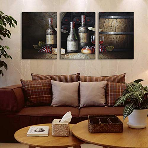 Sweety Decor Canvas Wall Art Kitchen Vintage Country Style Grape Red Wine And Wooden Barrel Picture Canvas Kitchen Food Drink Artwork For Dining Room Home Decoration Black M 0 1