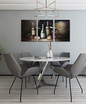 Sweety Decor Canvas Wall Art Kitchen Vintage Country Style Grape Red Wine And Wooden Barrel Picture Canvas Kitchen Food Drink Artwork For Dining Room Home Decoration Black M 0 2 300x360