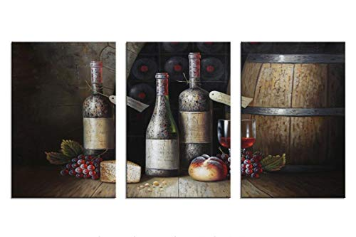 Sweety Decor Canvas Wall Art Kitchen Vintage Country Style Grape Red Wine And Wooden Barrel Picture Canvas Kitchen Food Drink Artwork For Dining Room Home Decoration Black M 0