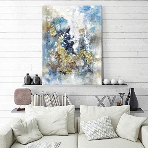 Textured Abstract Painting Wall Art Rustic Hand Painted Splash Inks Layers Canvas Picture Artwork For Office Wall 40 X 30 X 1 Panel 0 1