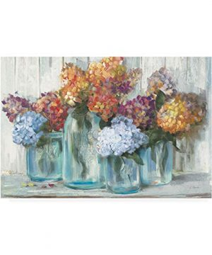 Trademark Fine Art Fall Hydrangeas In Glass Jar Crop By Carol Rowan 22x32 0 300x360