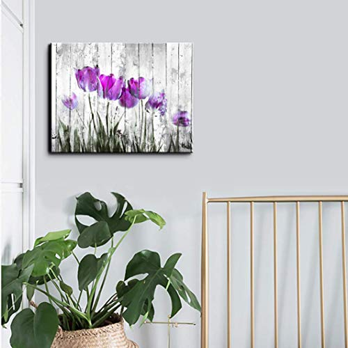 Tulip Wall Art For Bedroom Abstract Purple Flower Canvas Print 12x16Wall Art Painting For Living Room Wall Decor And Artwork Modern Home Decorations Framed Wall Art Photo Canvas Prints Ready To Hang 0 0