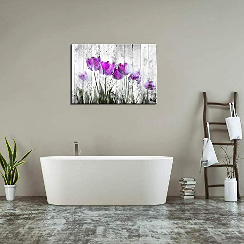 Tulip Wall Art For Bedroom Abstract Purple Flower Canvas Print 12x16Wall Art Painting For Living Room Wall Decor And Artwork Modern Home Decorations Framed Wall Art Photo Canvas Prints Ready To Hang 0 2