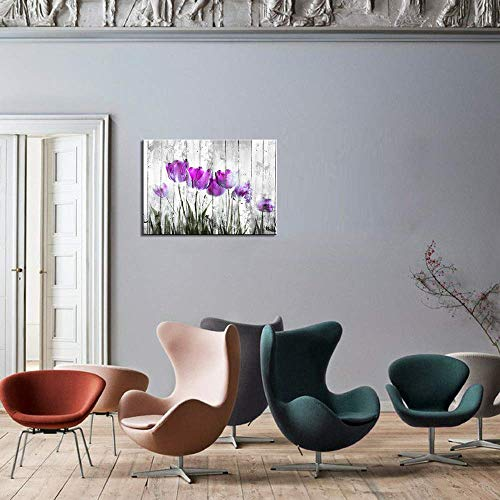 Tulip Wall Art For Bedroom Abstract Purple Flower Canvas Print 12x16Wall Art Painting For Living Room Wall Decor And Artwork Modern Home Decorations Framed Wall Art Photo Canvas Prints Ready To Hang 0 3