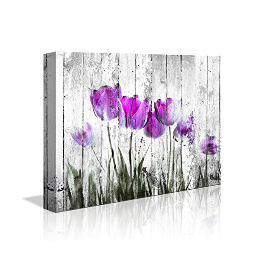 Tulip Wall Art For Bedroom Abstract Purple Flower Canvas Print 12x16Wall Art Painting For Living Room Wall Decor And Artwork Modern Home Decorations Framed Wall Art Photo Canvas Prints Ready To Hang 0