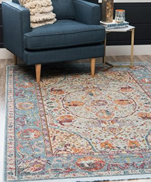 Unique Loom Baracoa Collection Bright Tones Vintage Traditional Light Blue Area Rug 5 5 X 8 0 0 300x360