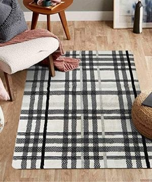 Uphome Orchard Plaid Area Rugs 3x5 Soft Velvet Distressted Throw Rugs Modern Geometric Checkered Accent Rug Shag Cozy Non Skid Collection Floor Carpet For Bedroom Living Room Nursery 0 300x360