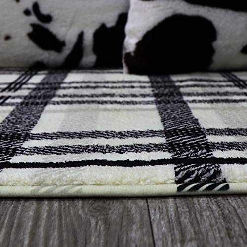 Uphome Orchard Plaid Area Rugs 3x5 Soft Velvet Distressted Throw Rugs Modern Geometric Checkered Accent Rug Shag Cozy Non Skid Collection Floor Carpet For Bedroom Living Room Nursery 0 5