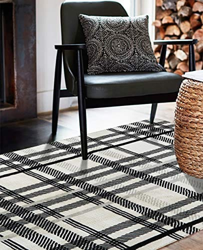 Uphome Orchard Plaid Area Rugs 4x6 Soft Velvet Large Distressted Throw Rugs Modern Geometric Checkered Accent Rug Shag Cozy Non Skid Collection Floor Carpet For Bedroom Living Room Nursery 0 1