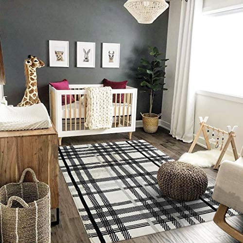 Uphome Orchard Plaid Area Rugs 4x6 Soft Velvet Large Distressted Throw Rugs Modern Geometric Checkered Accent Rug Shag Cozy Non Skid Collection Floor Carpet For Bedroom Living Room Nursery 0 2