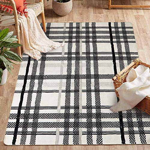 Uphome Orchard Plaid Area Rugs 4x6 Soft Velvet Large Distressted Throw Rugs Modern Geometric Checkered Accent Rug Shag Cozy Non Skid Collection Floor Carpet For Bedroom Living Room Nursery 0