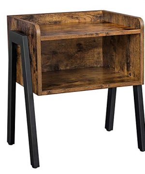VASAGLE Industrial Nightstand Stackable End Table Cabinet For Storage Side Table For Small Spaces Wood Look Accent Furniture Metal Frame ULET54X 0 300x360