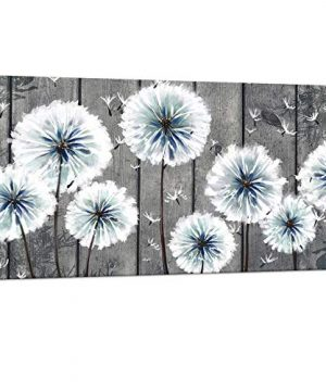 Visual Art Decor Rustic Dandelion Painting On Vintage Grey Wood Background Flowers Framed And Stretched Canvas Prints Art For Home Office Living Room Bedroom Bathroom Decoration 0 300x360