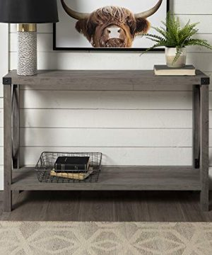 WE Furniture Barnwood Farmhouse Sqaure Accent Entryway Table 46 Inch Grey 0 300x360