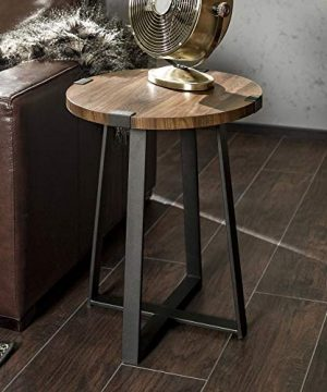 WE Furniture Rustic Farmhouse Round Metal Side End Accent Table Living Room 18 Inch Walnut Brown 0 300x360