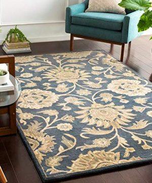 Wabaningo Handmade Updated Farmhouse 6 X 9 Rectangle Traditional 100 Wool NavyKhakiBeigeSageTanCamel Area Rug 0 300x360