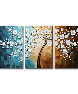 Winpeak Hand Painted White Flower Oil Painting Modern Floral Canvas Wall Art Abstract Plum Blossom Artwork Stretched And Framed Ready To Hang 0 300x360