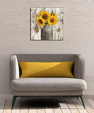 Yanghl Canvas Wall Art Prints Rustic Floral Country Farmhouse Sunflower Modern Decorative Artwork For Wall Decor And Home Decor Framed Ready To Hang 16x16 0 2 300x360
