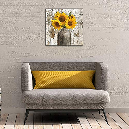 Yanghl Canvas Wall Art Prints Rustic Floral Country Farmhouse Sunflower Modern Decorative Artwork For Wall Decor And Home Decor Framed Ready To Hang 16x16 0 2
