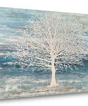 Yihui Arts Abstract Landscape Canvas Art Modern Paintings For Wall Decor Trees Print Artwork Blue 20Wx28L 0 300x360