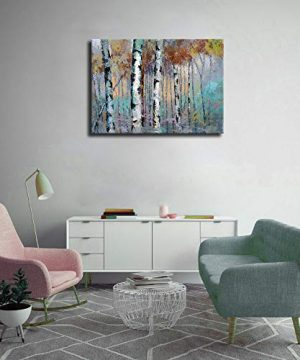 ArteWOODS Abstract Wall Art Birch Forest Vintage Canvas Pictures Modern Abstract Landscape Canvas Artwork Rustic Contemporary Wall Art 20 X 28 Framed Ready To Hang 0 0 300x360