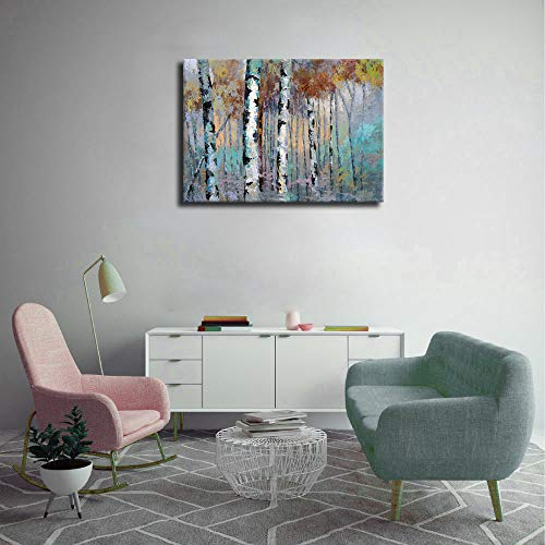ArteWOODS Abstract Wall Art Birch Forest Vintage Canvas Pictures Modern Abstract Landscape Canvas Artwork Rustic Contemporary Wall Art 20 X 28 Framed Ready To Hang 0 0