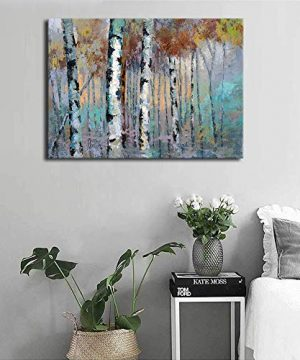 ArteWOODS Abstract Wall Art Birch Forest Vintage Canvas Pictures Modern Abstract Landscape Canvas Artwork Rustic Contemporary Wall Art 20 X 28 Framed Ready To Hang 0 1 300x360