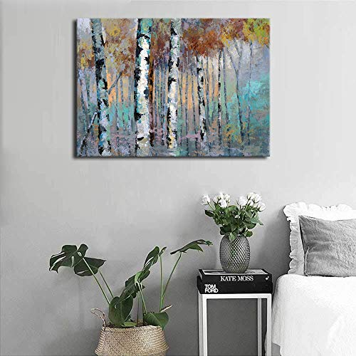 ArteWOODS Abstract Wall Art Birch Forest Vintage Canvas Pictures Modern Abstract Landscape Canvas Artwork Rustic Contemporary Wall Art 20 X 28 Framed Ready To Hang 0 1