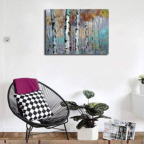 ArteWOODS Abstract Wall Art Birch Forest Vintage Canvas Pictures Modern Abstract Landscape Canvas Artwork Rustic Contemporary Wall Art 20 X 28 Framed Ready To Hang 0 2