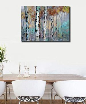 ArteWOODS Abstract Wall Art Birch Forest Vintage Canvas Pictures Modern Abstract Landscape Canvas Artwork Rustic Contemporary Wall Art 20 X 28 Framed Ready To Hang 0 3 300x360