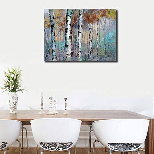 ArteWOODS Abstract Wall Art Birch Forest Vintage Canvas Pictures Modern Abstract Landscape Canvas Artwork Rustic Contemporary Wall Art 20 X 28 Framed Ready To Hang 0 3