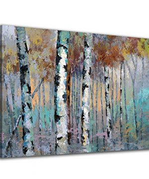ArteWOODS Abstract Wall Art Birch Forest Vintage Canvas Pictures Modern Abstract Landscape Canvas Artwork Rustic Contemporary Wall Art 20 X 28 Framed Ready To Hang 0 300x360