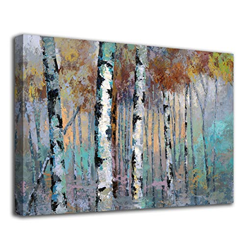 ArteWOODS Abstract Wall Art Birch Forest Vintage Canvas Pictures Modern Abstract Landscape Canvas Artwork Rustic Contemporary Wall Art 20 X 28 Framed Ready To Hang 0