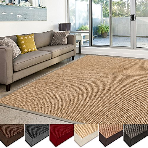 Casa Pura Sisal Rug Runner 100 Natural Fiber Area Rug Non Skid Rustic Entryway Rug Living Room Carpet Or Kitchen Rugs And Sizes Natural 6x9 0 3
