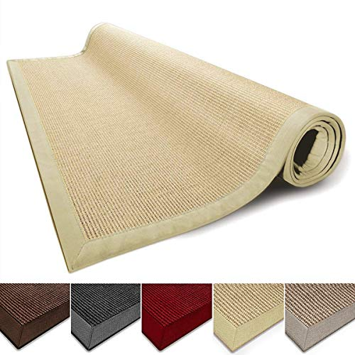 Casa Pura Sisal Rug Runner 100 Natural Fiber Area Rug Non Skid Rustic Entryway Rug Living Room Carpet Or Kitchen Rugs And Sizes Natural 6x9 0