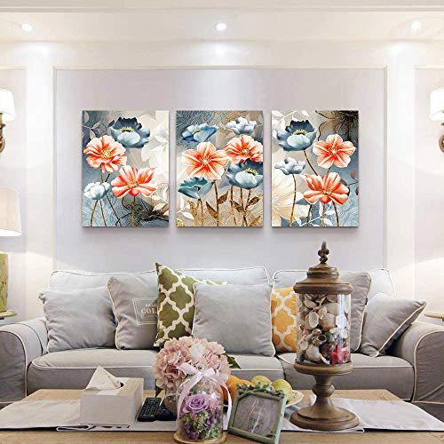 Farmhouse Wall Art For Living Room Family Kitchen Bedroom Decoration 3 Piece Bathroom Wall Decor Red Watercolor Flowers Abstract Painting Office Canvas Pictures Artworks Modern Home Wall Decorations 0 0