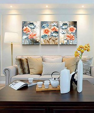 Farmhouse Wall Art For Living Room Family Kitchen Bedroom Decoration 3 Piece Bathroom Wall Decor Red Watercolor Flowers Abstract Painting Office Canvas Pictures Artworks Modern Home Wall Decorations 0 1 300x360