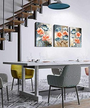 Farmhouse Wall Art For Living Room Family Kitchen Bedroom Decoration 3 Piece Bathroom Wall Decor Red Watercolor Flowers Abstract Painting Office Canvas Pictures Artworks Modern Home Wall Decorations 0 2 300x360