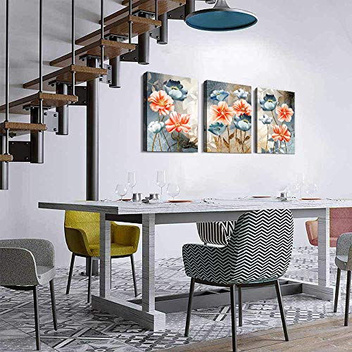 Farmhouse Wall Art For Living Room Family Kitchen Bedroom Decoration 3 Piece Bathroom Wall Decor Red Watercolor Flowers Abstract Painting Office Canvas Pictures Artworks Modern Home Wall Decorations 0 2