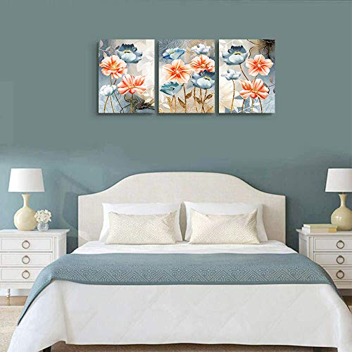 Farmhouse Wall Art For Living Room Family Kitchen Bedroom Decoration 3 Piece Bathroom Wall Decor Red Watercolor Flowers Abstract Painting Office Canvas Pictures Artworks Modern Home Wall Decorations 0 3