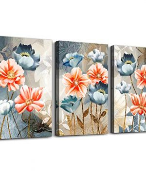 Farmhouse Wall Art For Living Room Family Kitchen Bedroom Decoration 3 Piece Bathroom Wall Decor Red Watercolor Flowers Abstract Painting Office Canvas Pictures Artworks Modern Home Wall Decorations 0 300x360