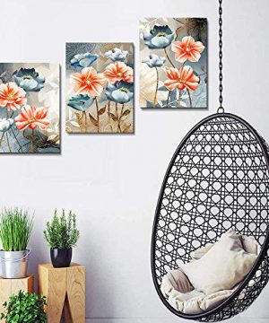 Farmhouse Wall Art For Living Room Family Kitchen Bedroom Decoration 3 Piece Bathroom Wall Decor Red Watercolor Flowers Abstract Painting Office Canvas Pictures Artworks Modern Home Wall Decorations 0 4 300x360
