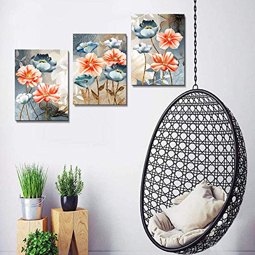 Farmhouse Wall Art For Living Room Family Kitchen Bedroom Decoration 3 Piece Bathroom Wall Decor Red Watercolor Flowers Abstract Painting Office Canvas Pictures Artworks Modern Home Wall Decorations 0 4
