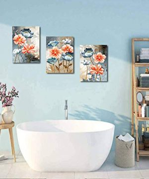 Farmhouse Wall Art For Living Room Family Kitchen Bedroom Decoration 3 Piece Bathroom Wall Decor Red Watercolor Flowers Abstract Painting Office Canvas Pictures Artworks Modern Home Wall Decorations 0 5 300x360