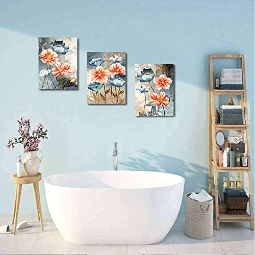 Farmhouse Wall Art For Living Room Family Kitchen Bedroom Decoration 3 Piece Bathroom Wall Decor Red Watercolor Flowers Farmhouse Goals