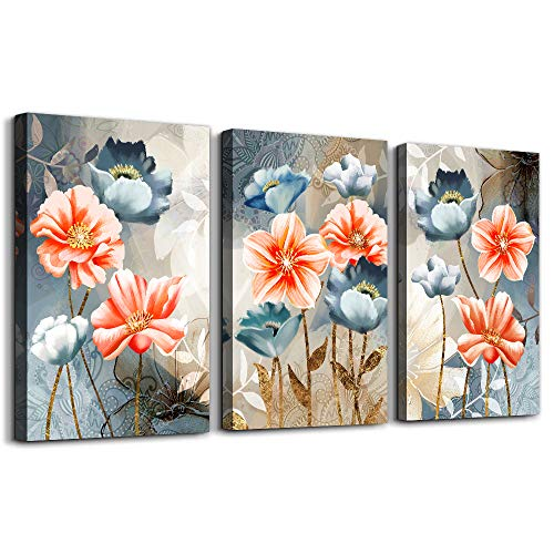 Farmhouse Wall Art For Living Room Family Kitchen Bedroom Decoration 3 Piece Bathroom Wall Decor Red Watercolor Flowers Abstract Painting Office Canvas Pictures Artworks Modern Home Wall Decorations 0