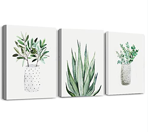 Farmhouse Wall Art Painting For Dining Room Bathroom Abstract Canvas Art Family Wall Decor For Bedroom Kitchen Wall Decoration Living Room Decor Art Green Leaf Pictures Artwork For Home Walls 3 Piece 0